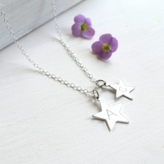 Personalised Sterling Silver Double Star Initial Necklace