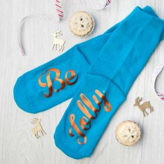 Personalised Turquoise & Terracotta Orange Christmas Day Socks