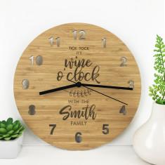 Personalised Wine O'Clock Bamboo Wall Clock