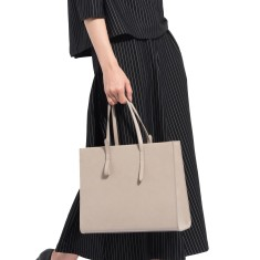 Grey leather work tote bag/shoulder bag
