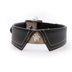 Savile row style dog collar in black or red