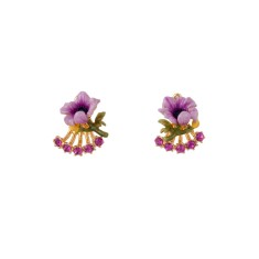 Purple flower and sparkling clasp earrings