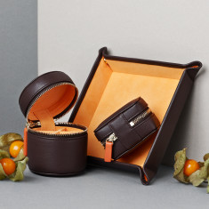 Men's Luxury Leather Coin Tray, Cufflink Box, Stud Box Gift Set for Travel