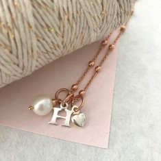 Rose gold, sterling silver and pearl initial necklace