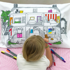 Home decorator pillowcase to colour in, with pens