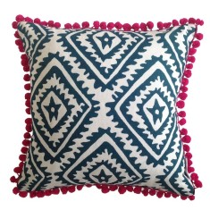 Navy blue jagged diamond linen cushion with pom poms