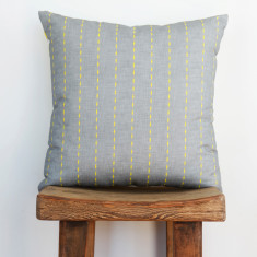 Boheme ticking yellow cushion