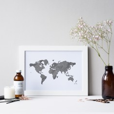 World map drawing print