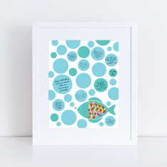 Fish baby shower guest book print