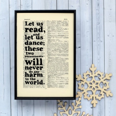 Reading and dancing literary gift print