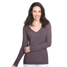 Silk Cashmere V Neck Sweater with Pointelle Detail -  Onyx