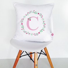 Monogram wreath personalised cotton cushion cover