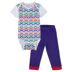 Zig 'n' zaggin' short sleeve baby onesie with indigo pants