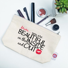 Beautiful inside and out personalised makeup bag