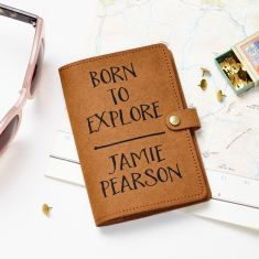 Recycled Leather Passport Cover Born To Explore