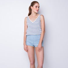 Striped cotton cashmere tank - white/powder blue