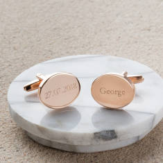 Personalised Rose Gold Oval Wedding Cufflinks