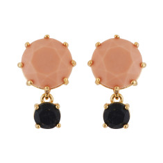 Pink and glittered black stone earrings