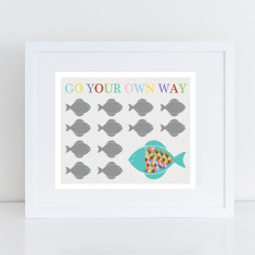 Go your own way fish art print