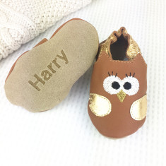 Leather Owl Baby Shoes