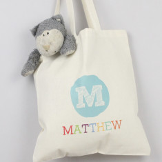 Personalised initial & name tote bag