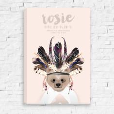 Tribal Bear Personalised Birth Canvas