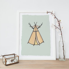 Antler Teepee Illustration Fine Art Nursery Print