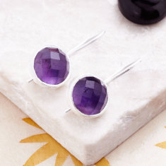 Cupcake Larger Drop Earrings In Silver with Amethyst