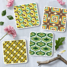 Retro Patterned Coasters (set of 4)