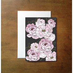 Peonies and gold leaves print greeting card