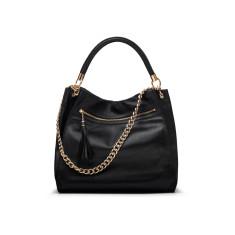 The Grande Black Italian Leather Hobo Handbag