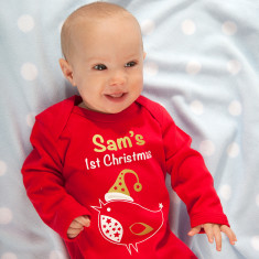 Personalised 'My First Christmas' Robin Baby Grow