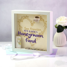 Personalised Honeymoon Destination Fund Money Box Frame