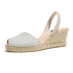 Morena braided leather sandals in misty white