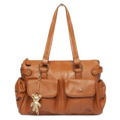 Mia Tote Leather Nappy Bag in Tan