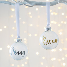 Personalised White Frosted Glitter Bauble