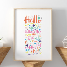 Personalised Hello Baby New Baby Print