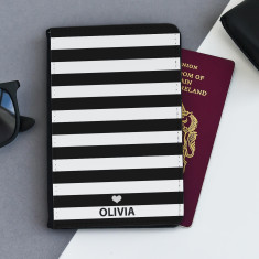 Black & White Striped Personalised Passport Cover