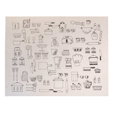 Printed paper placemats in kitchen utensils print