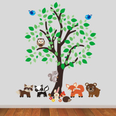 Woodland Tree With Animals Wall Sticker
