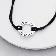 Personalised coordinates bracelet in silver and leather