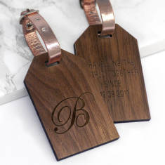 Personalised Walnut Wood Calligraphy Initial Luggage Tag