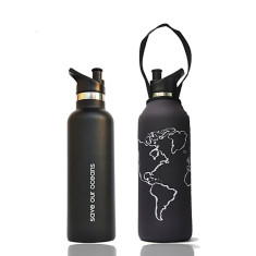 Stainless steel 750ml traveller bottle with globe print carry cover
