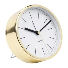Gold-plated station-style alarm clock with white dial