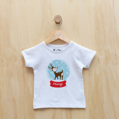 Personalised Christmas reindeer snow globe t-shirt