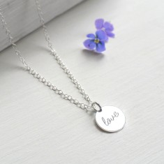 Personalised Sterling Silver Little 'love' Disc Pendant Necklace