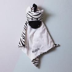 Personalised zebra baby comforter
