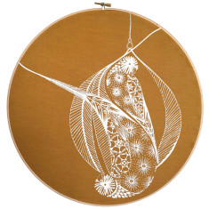 Screen printed Lorikeet framed in embroidery hoop (mustard)