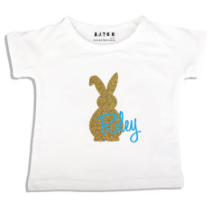 Boys' personalised Easter bling bunny t-shirt in blue or mint
