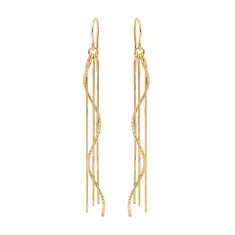 Sterling silver rain 4 strand earrings in gold